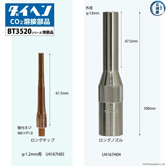 BT3520シリーズ(BT3520-30、BT3520-45、BT3520-60)用ロングチップとロングノズル