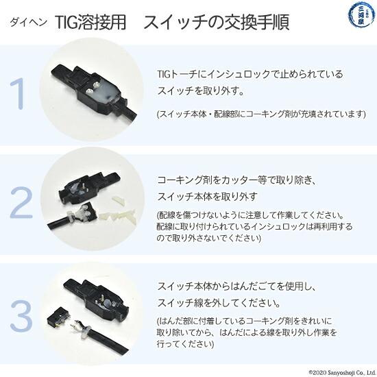 【TIG溶接部品】ダイヘン TIGトーチスイッチ(ボディASSY) K1108C00 TIGトーチ 【AWD-26用】   部品説明