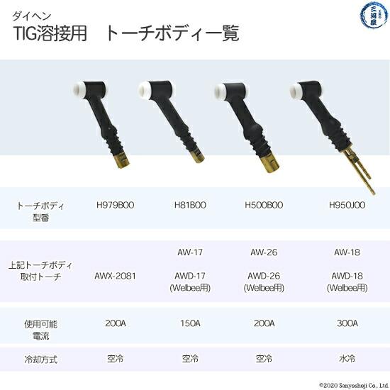 【TIG溶接部品】ダイヘン TIGトーチ用トーチボディ H950J00 TIGトーチ 【AWD-18用】   部品説明