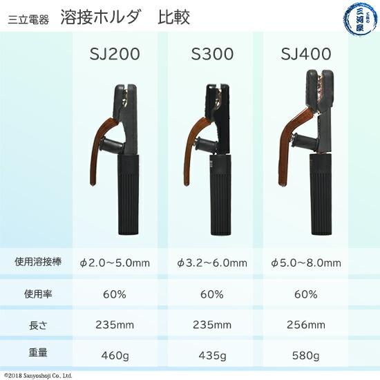 三立 アーク溶接用ホルダ比較SJ200、S300、SJ400