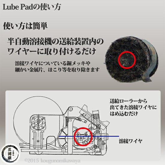 半自動溶接機送給ワイヤ用クリーニングブラックルーブパッド(6-BlackLubePads)6個/袋 ワイヤ送給をスムーズに