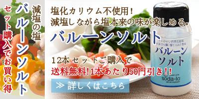 塩化カリウム不使用の減塩の塩・バルーンソルト12本セットご購入で送料無料!1本あたり50円引き。