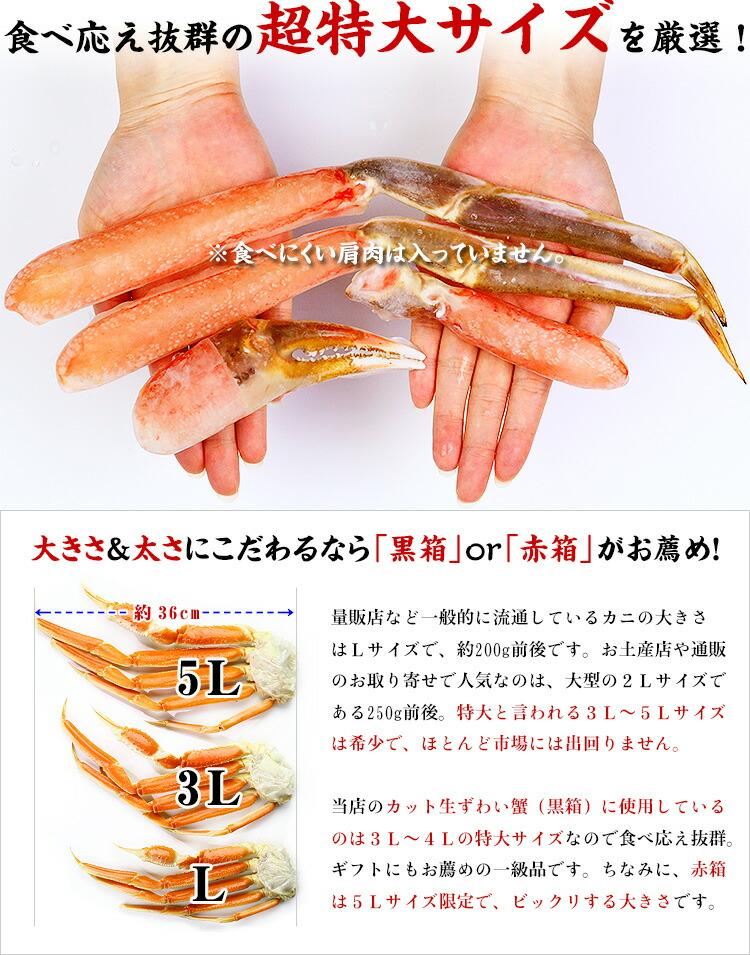 面倒な肩肉なし♪超特大&超極太カット生ずわい蟹ポーション1kg(総重量1.3kg)【カニ】【かに】【蟹】【ズワイガニ】