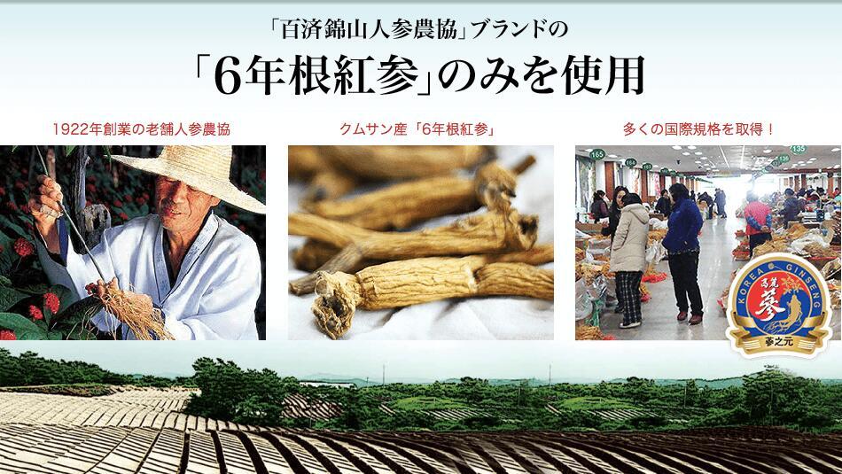 「百済錦山人参農協」ブランドの「6年根紅参」のみを使用