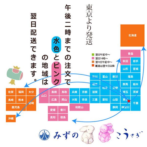 14時までのご注文でピンクと水色の地域は翌日配送できます