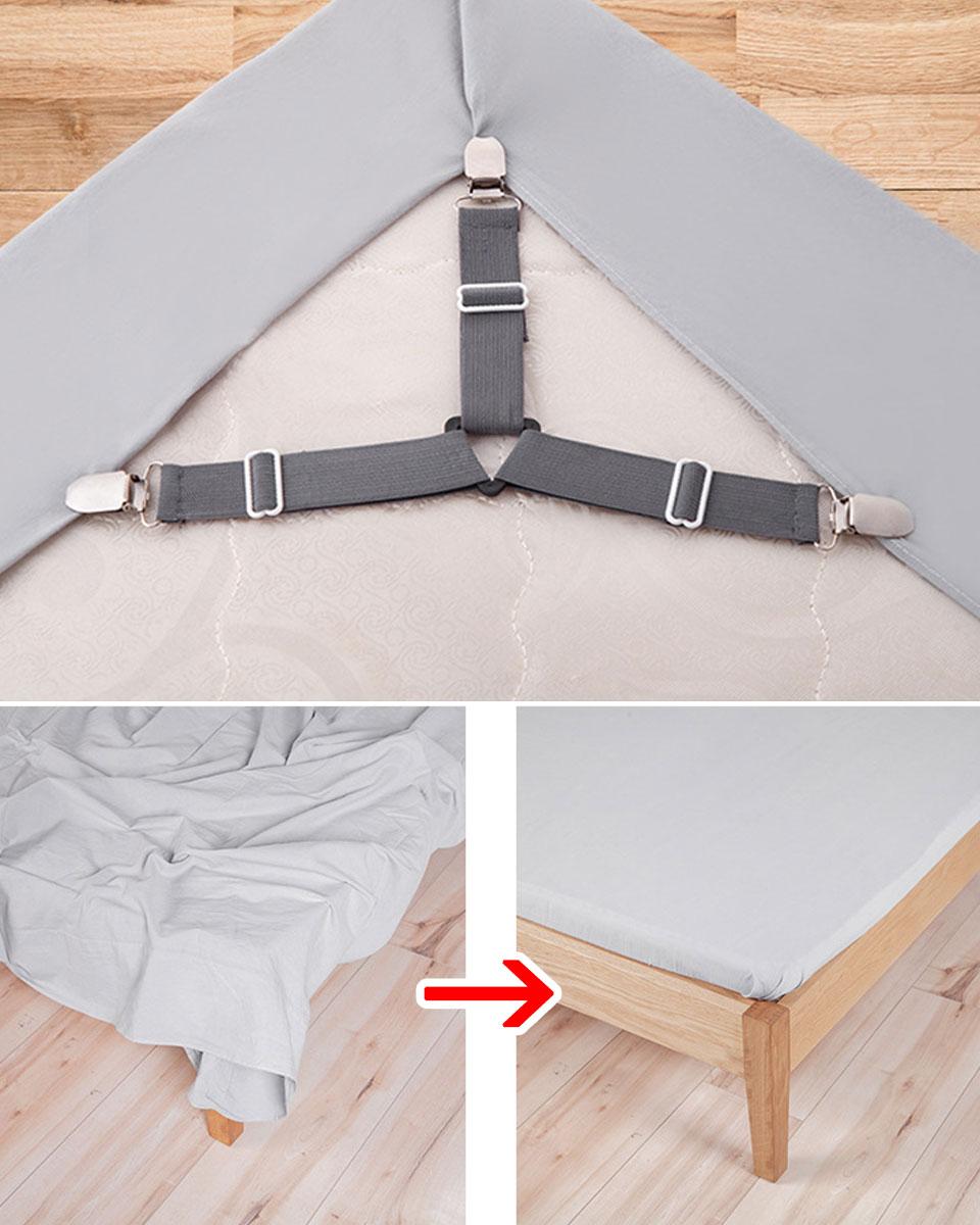 ベッドシーツクリップ ベッド シーツクリップ ズレ防止クリップ シーツ固定 ベッドシーツサスペンダー 固定バックルストラップ 三角形ゴムバンド