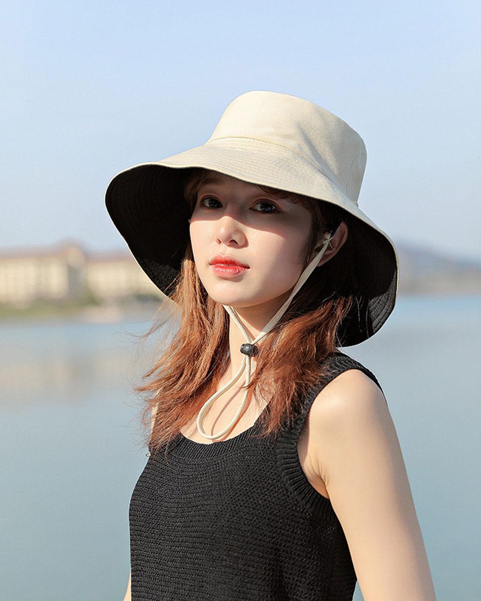 帽子 レディース uv 折りたたみ つば広 夏 ハット ひも付き リバーシブル サファリハット アウトドア