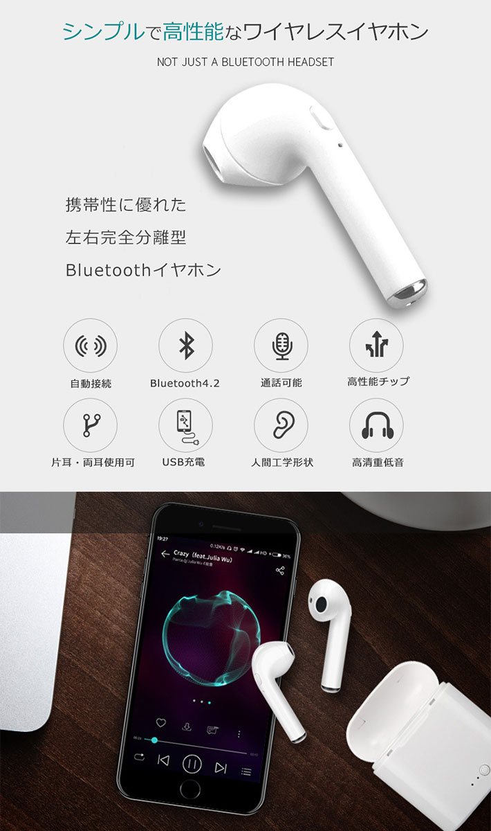 Bluetooth4.2 イヤホン スマホ iPhone Android 通話 ワイヤレス