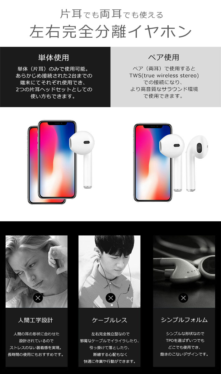 Bluetooth4.2 イヤホン スマホ iPhone Android 通話 ワイヤレス