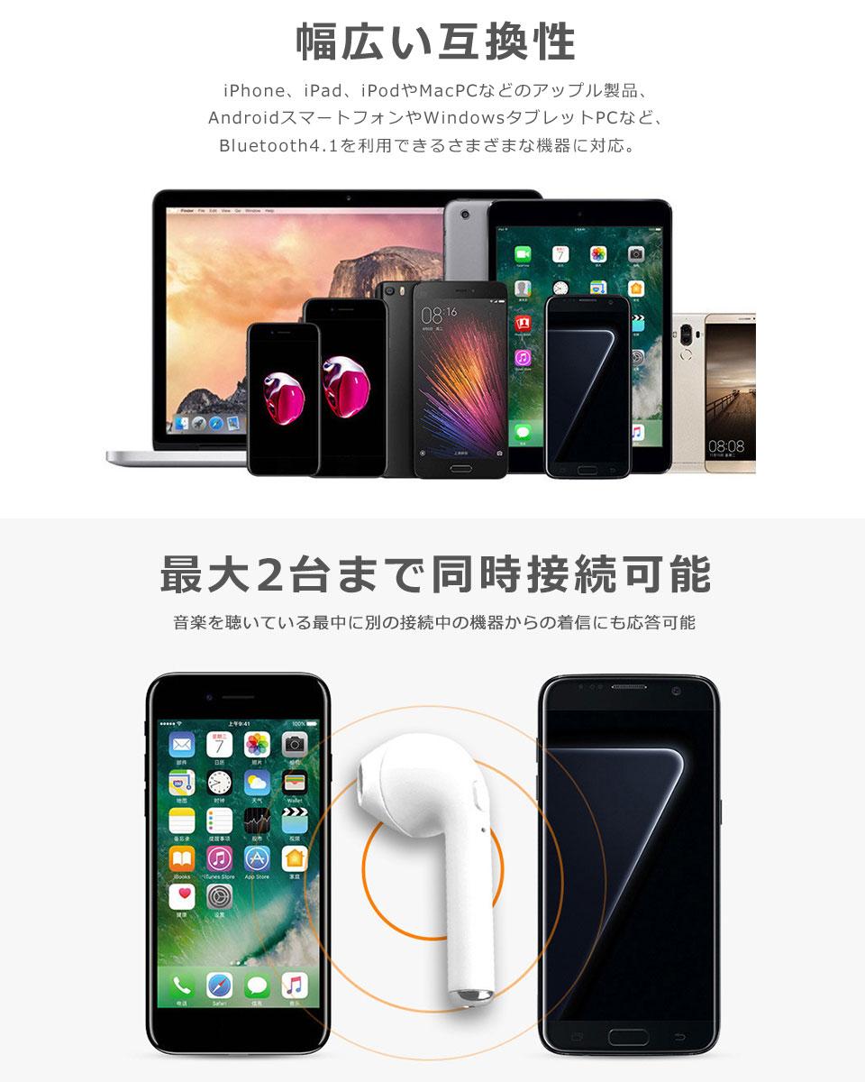 Bluetooth4.1 イヤホン スマホ iPhone Android 通話 ワイヤレス