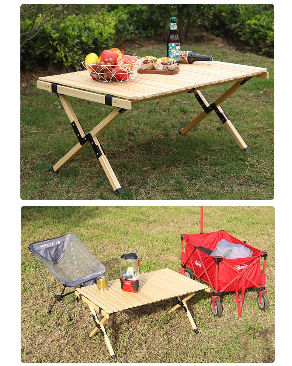レジャーテーブル 60cm×120cm キャンプ テーブル 木製 アウトドア テーブル 折り畳み ロールテーブル