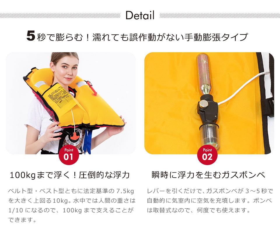 ライフジャケット 釣り 自動膨張 ベルトタイプ