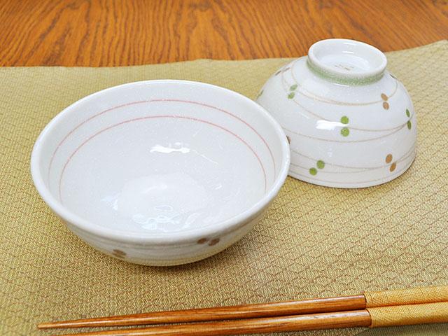 軽量ダイエット茶碗 粉引丸紋