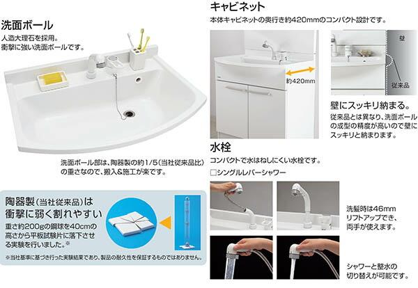 洗面ボール、キャビネット、水栓