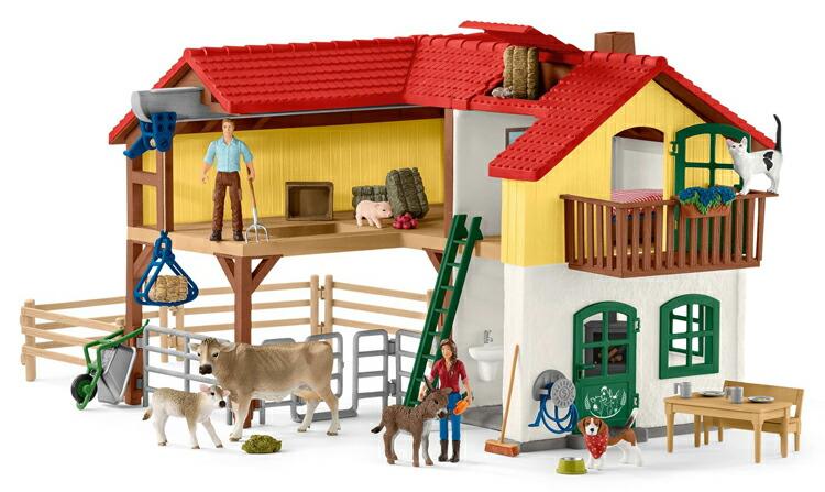 シュライヒ 動物フィギュア 42407 動物と暮らそう!牧場家族の大きなお家