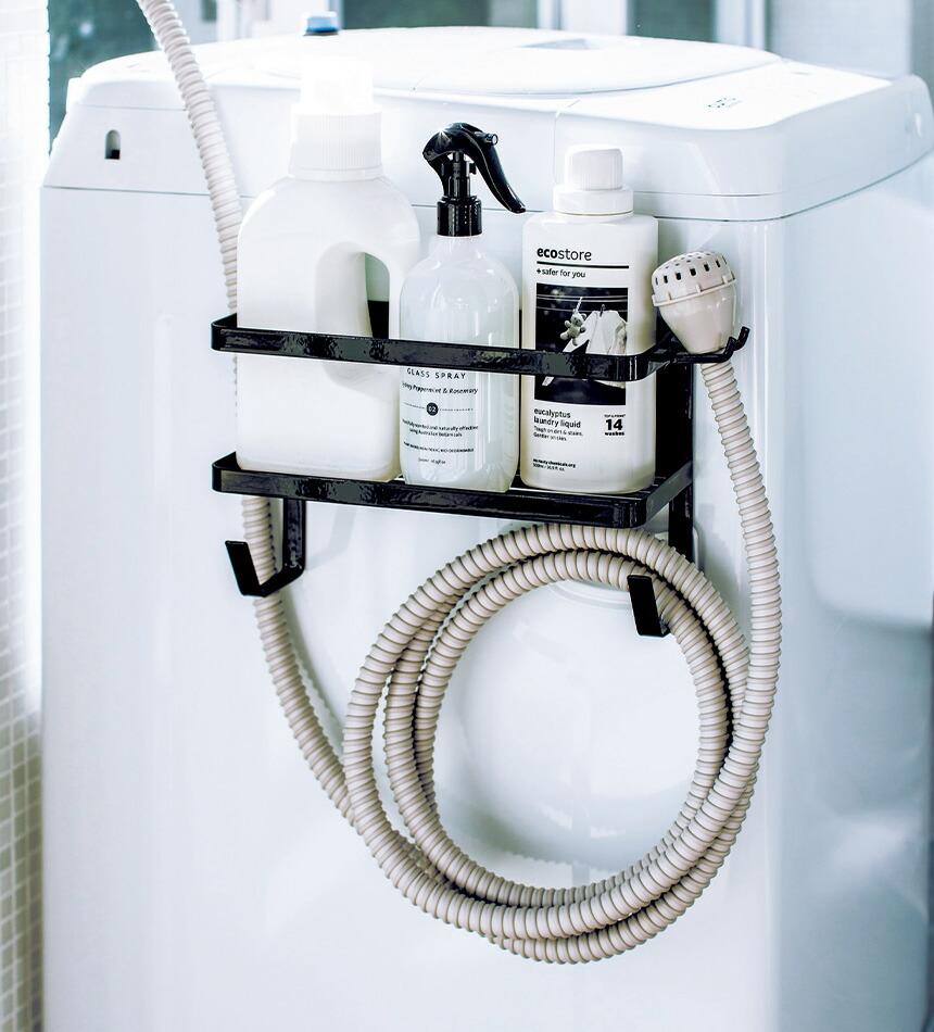 ホースホルダー付き洗濯機横マグネットラック タワー