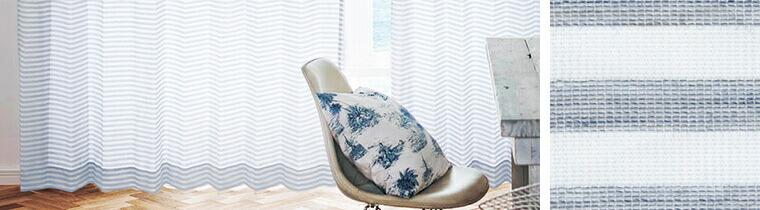 ボーダーレースカーテンのコーディネート例と生地の拡大画像
