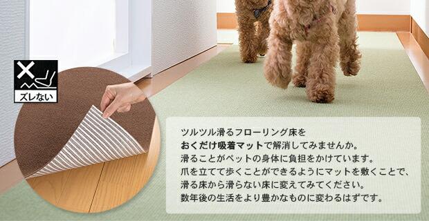 ツルツル滑るフローリング床をおくだけ吸着マットで解消してみませんか。滑ることがペットの身体に負担をかけています。爪を立てて歩くことができるようにマットを敷くことで、滑る床から滑らない床に変えてみてください。数年後の生活をより豊かなものに変わるはずです。