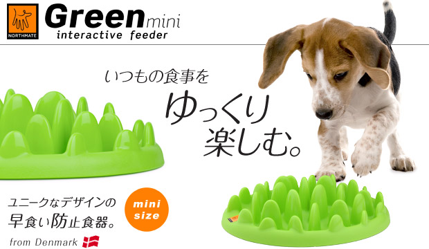 NORTHMATE グリーン ミニ(GREEN mini interactive feeder)いつもの食事をゆっくり楽しむ。芝生型スローフィーダー!