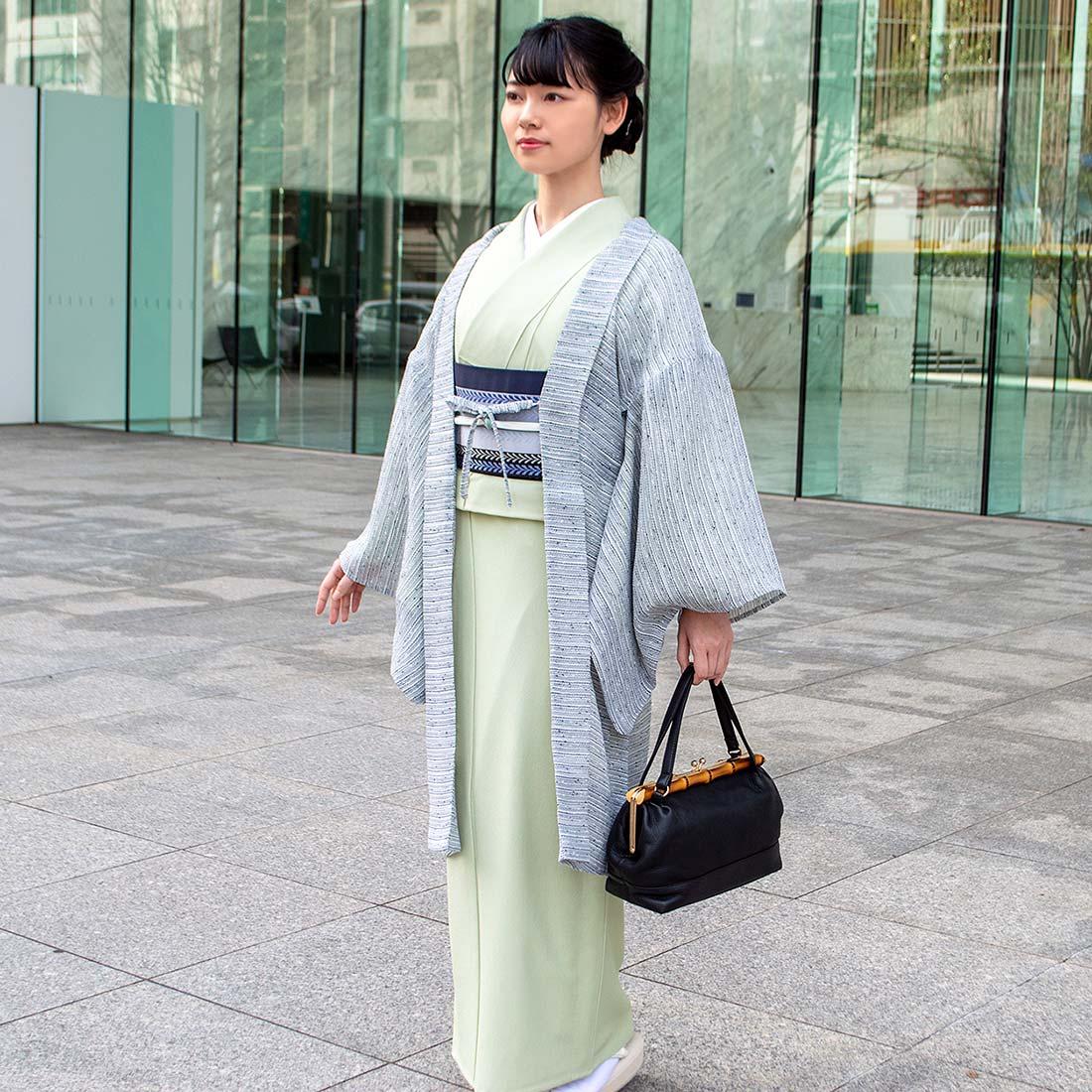 着物屋 くるり 博多織 半幅帯 変わり献上 ならび藤 濃紺