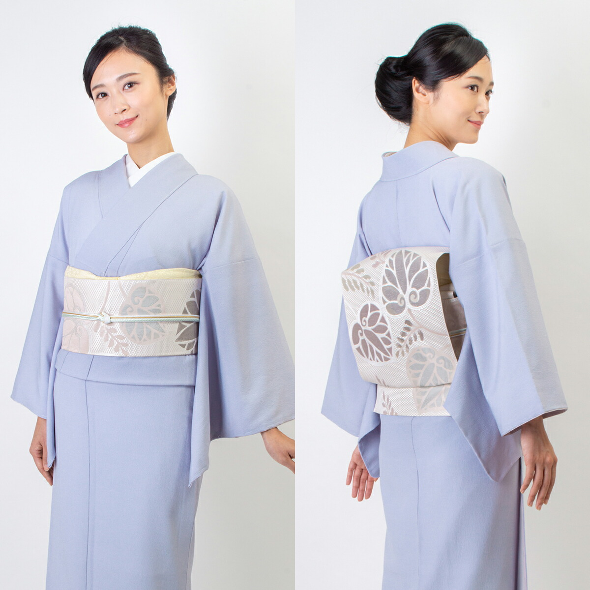 ウォッシャブル江戸小紋【鮫】藤色 モデル着用イメージ