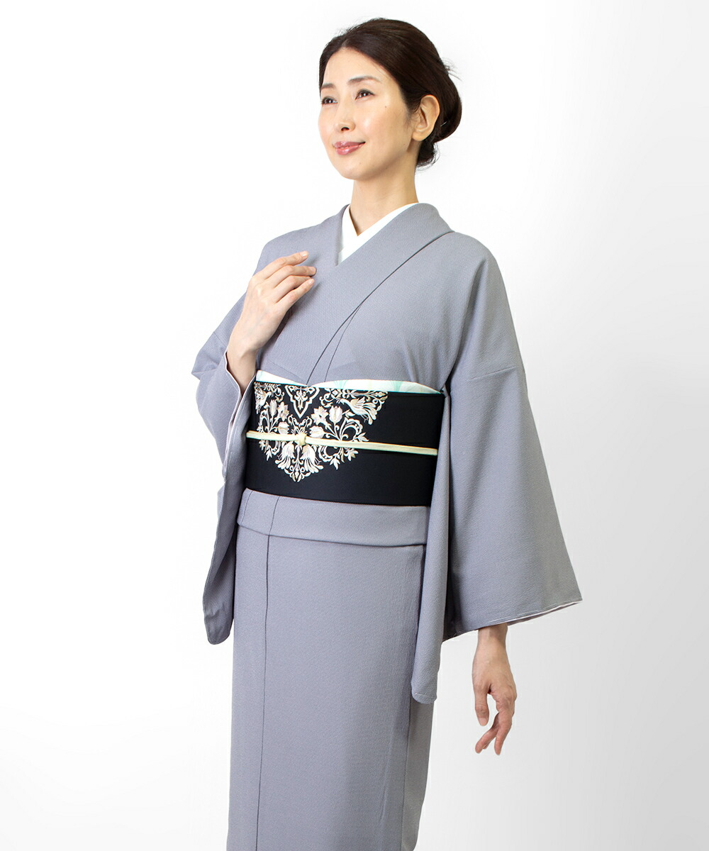 洗える着物 江戸小紋 行儀 紫 ポリエステ 東レ シルジェリー