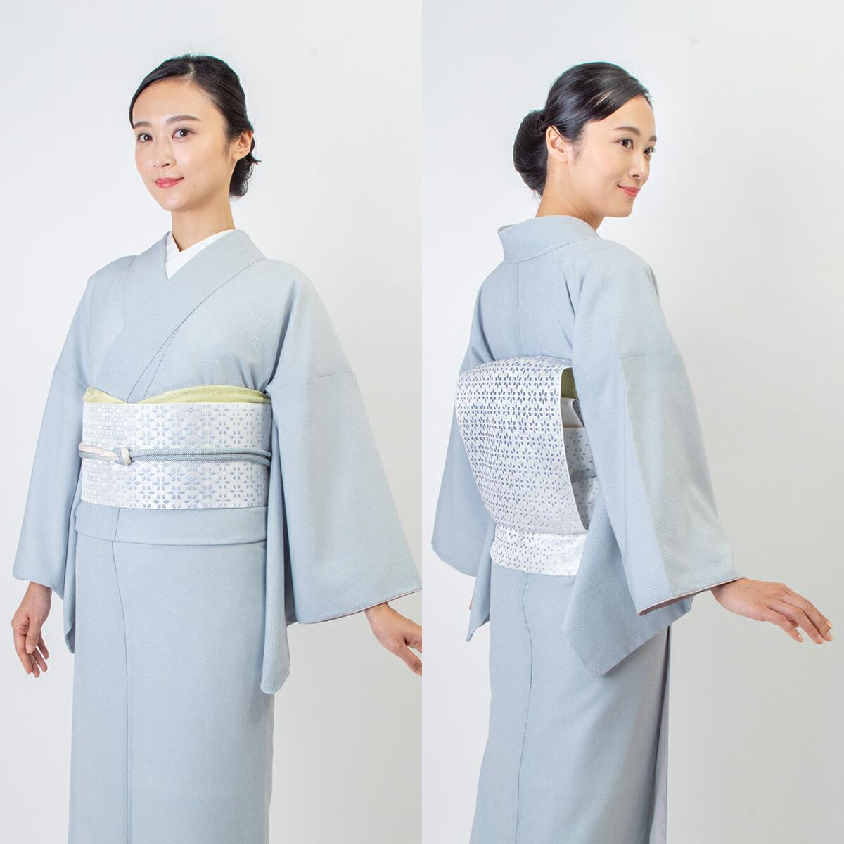ウォッシャブル江戸小紋【角通し】灰青モデル着用