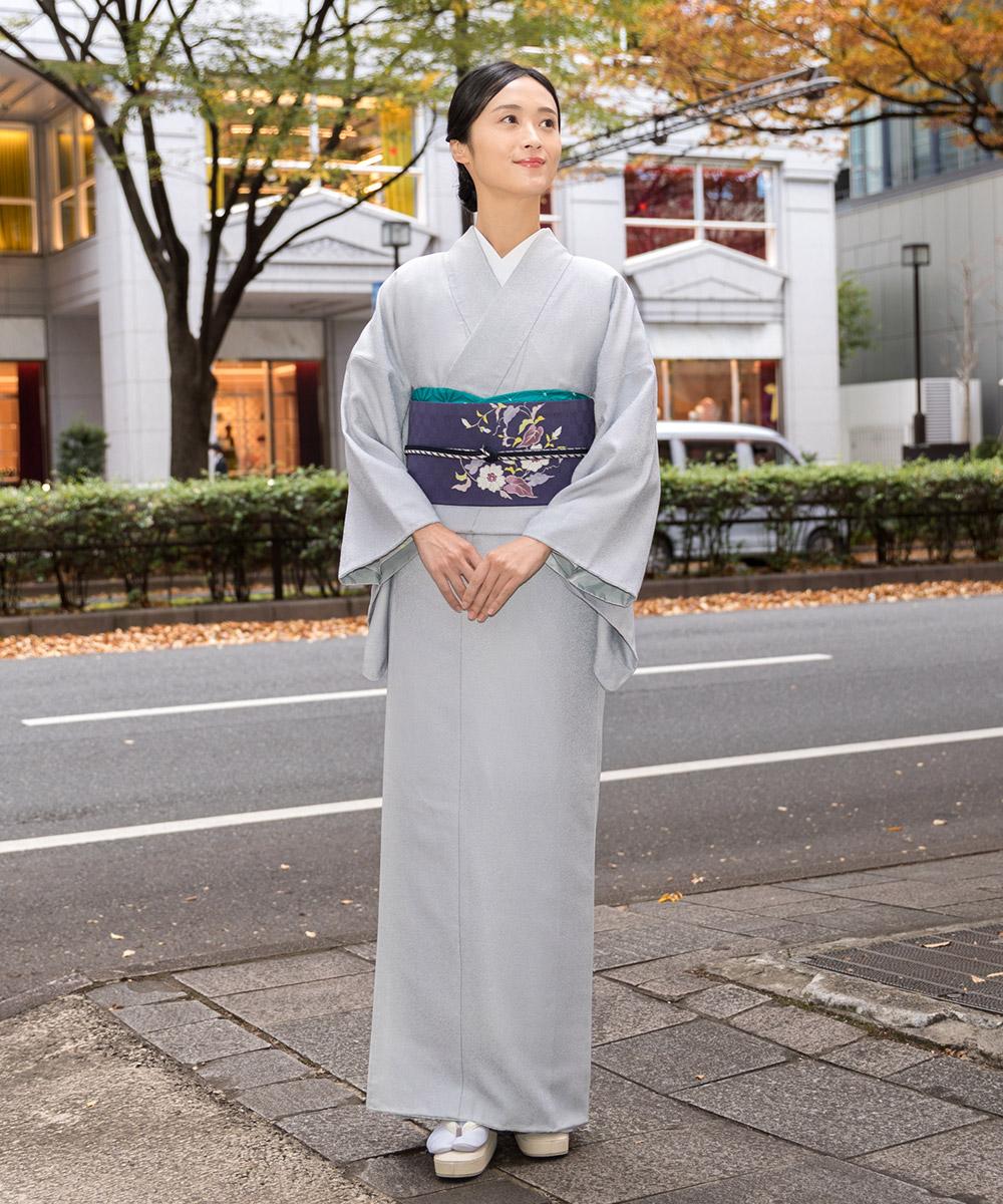 くるり ウォッシャブル着物 ソアナチュア iromuji 白菫色