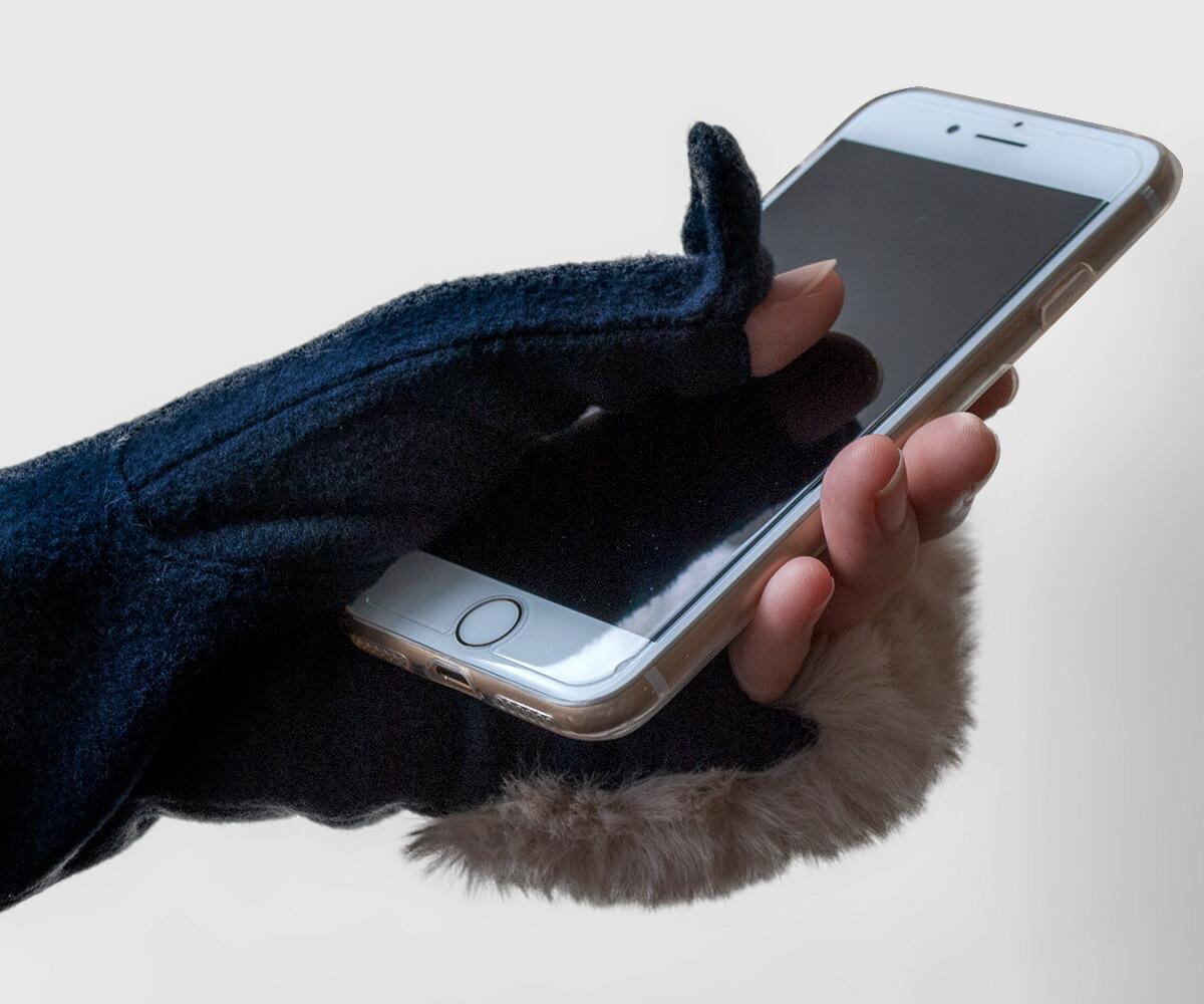 着物屋くるり 和装 手袋 ロンググローブ ウール 防寒 ファー 指なし