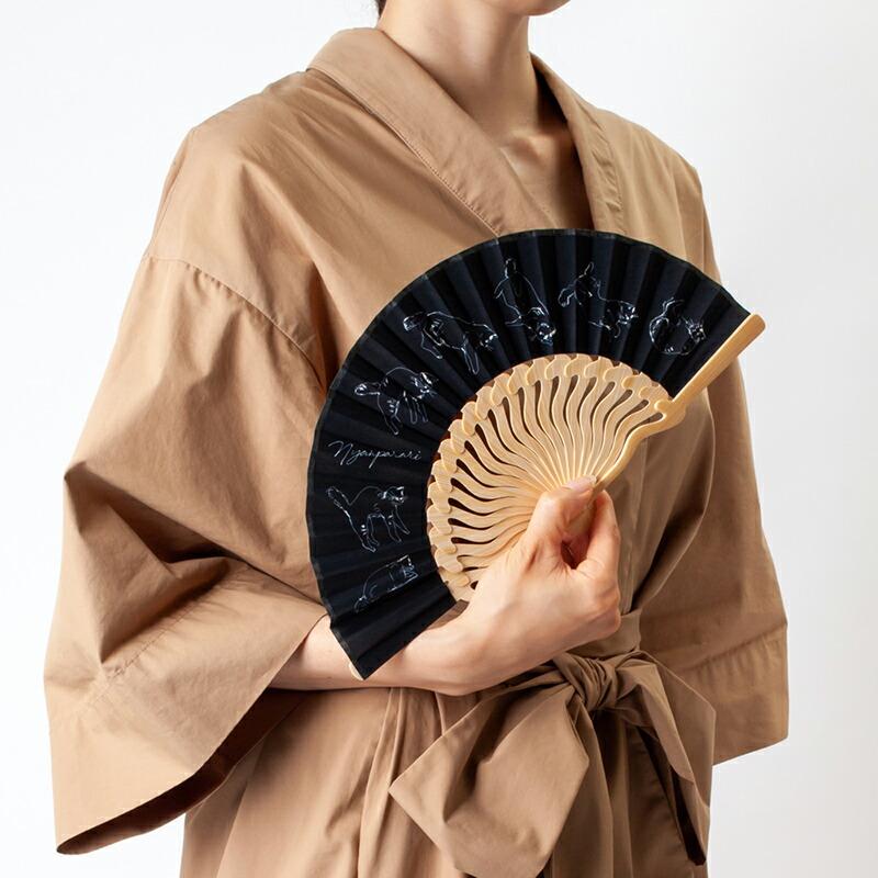 扇子【にゃんぱらり】ブラック/扇子袋付き