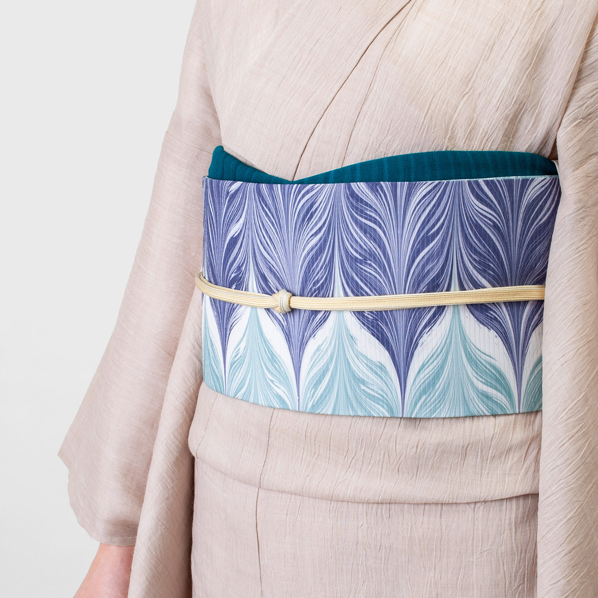 くるり 正絹絽名古屋帯 【墨流し】
