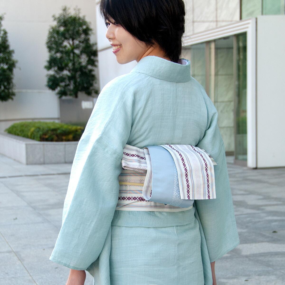 着物屋 くるり 博多織半幅帯【博多献上】乳白