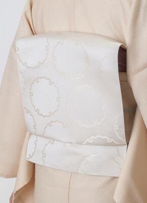 博多織名古屋帯 雪輪 白