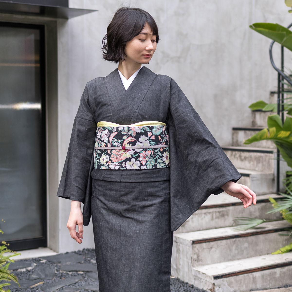 着物屋 くるり リバーシブル 半幅帯 更紗