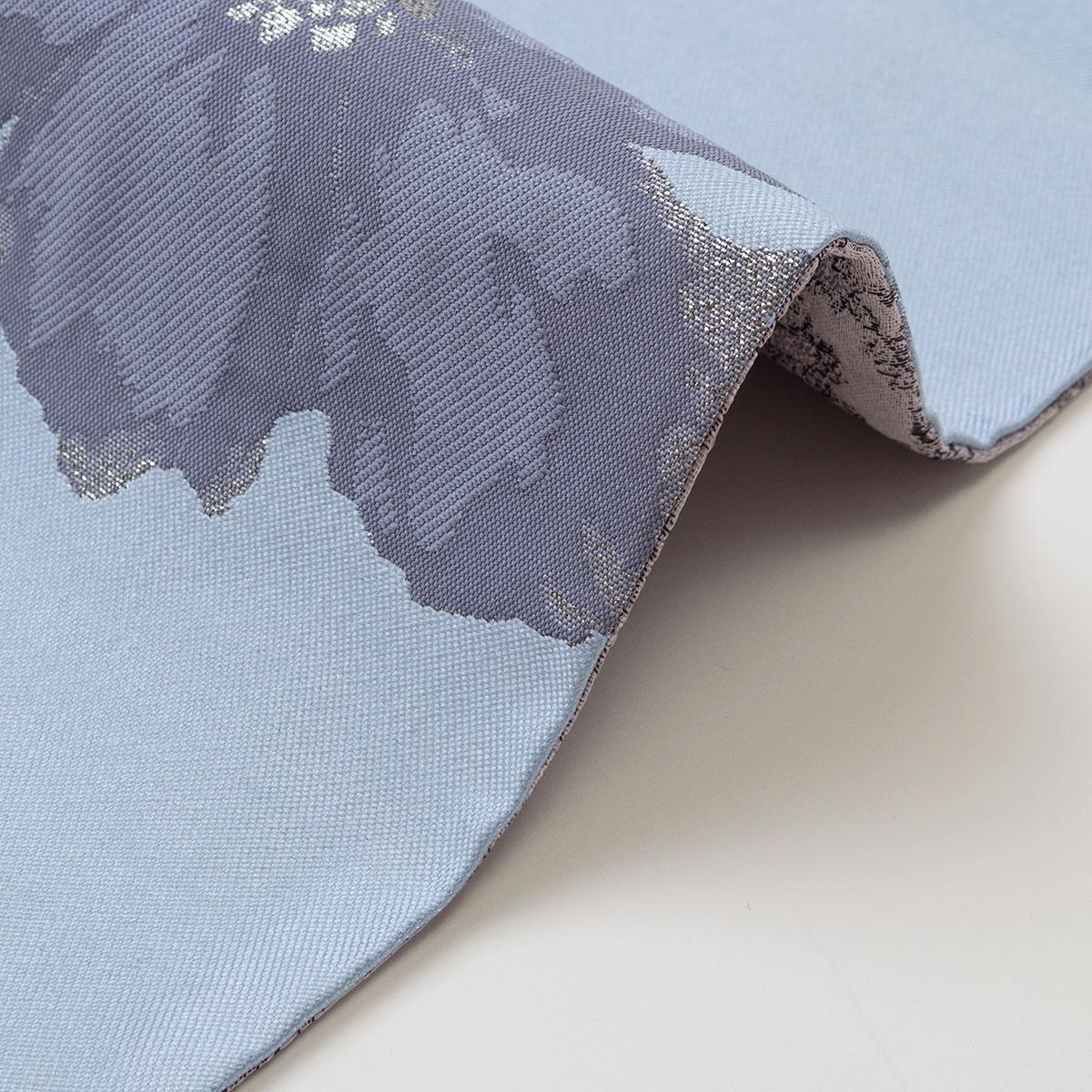 着物屋 くるり リバーシブル 半幅帯 フラワー ライトブルー