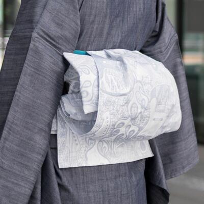 黒木織物 博多織 大人のへこ帯 ギター 白×ブルー