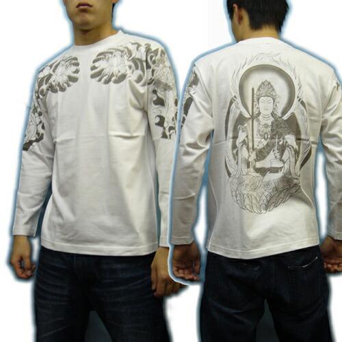 和柄 長袖Tシャツ 虚空蔵菩薩白モデル 画像