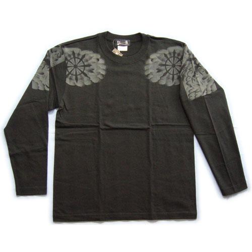 和柄 長袖Tシャツ 黒前 画像