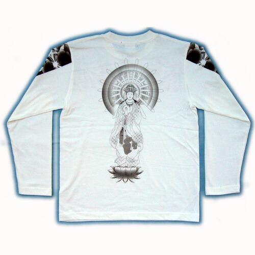 和柄 長袖Tシャツ 白後 画像