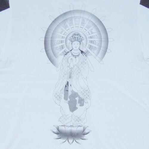 和柄 長袖Tシャツ 白背中 画像