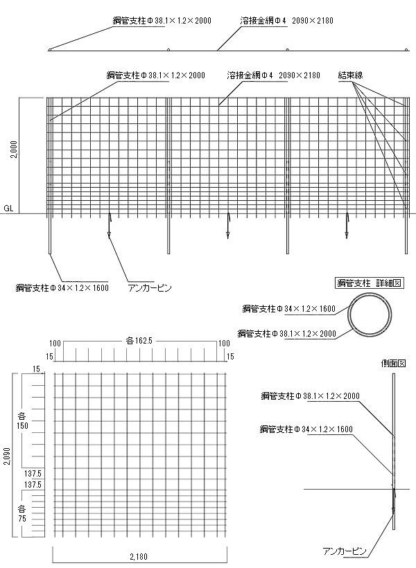 パネル型 金網フェンスの寸法