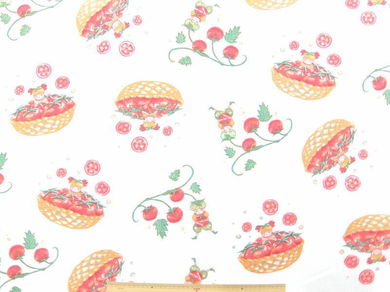 コットンリネン混 キャンバス生地 布 ピクピグ Pixpig kts6169aオフホワイト トマトのねがいごと かわいい野菜の妖精 By Risa Samejima コットンこばやし 商用利用可能京都カナリヤ手芸店