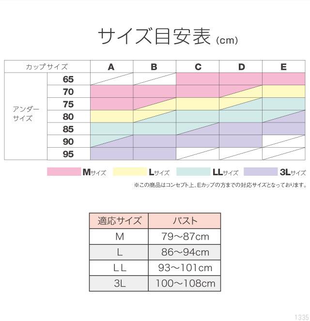神藤多喜子先生の24h美乳キープブラのサイズ表