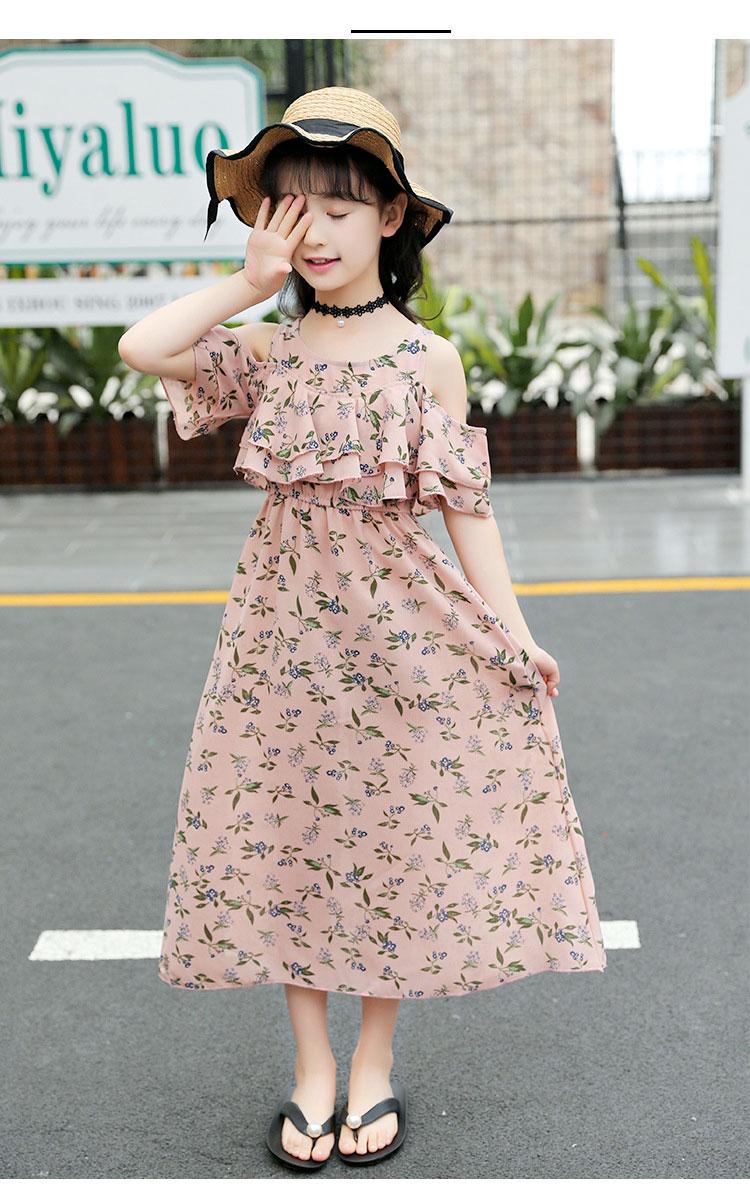 2f8bd3ff68fb2 ワンピース 女の子 マキシ丈 ロング 超可愛い 夏 韓国 子供服 キッズ 花柄 海へ おしゃれ シフォン素材:シフォン