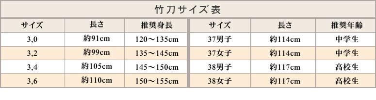 激安剣道竹刀 サイズ表