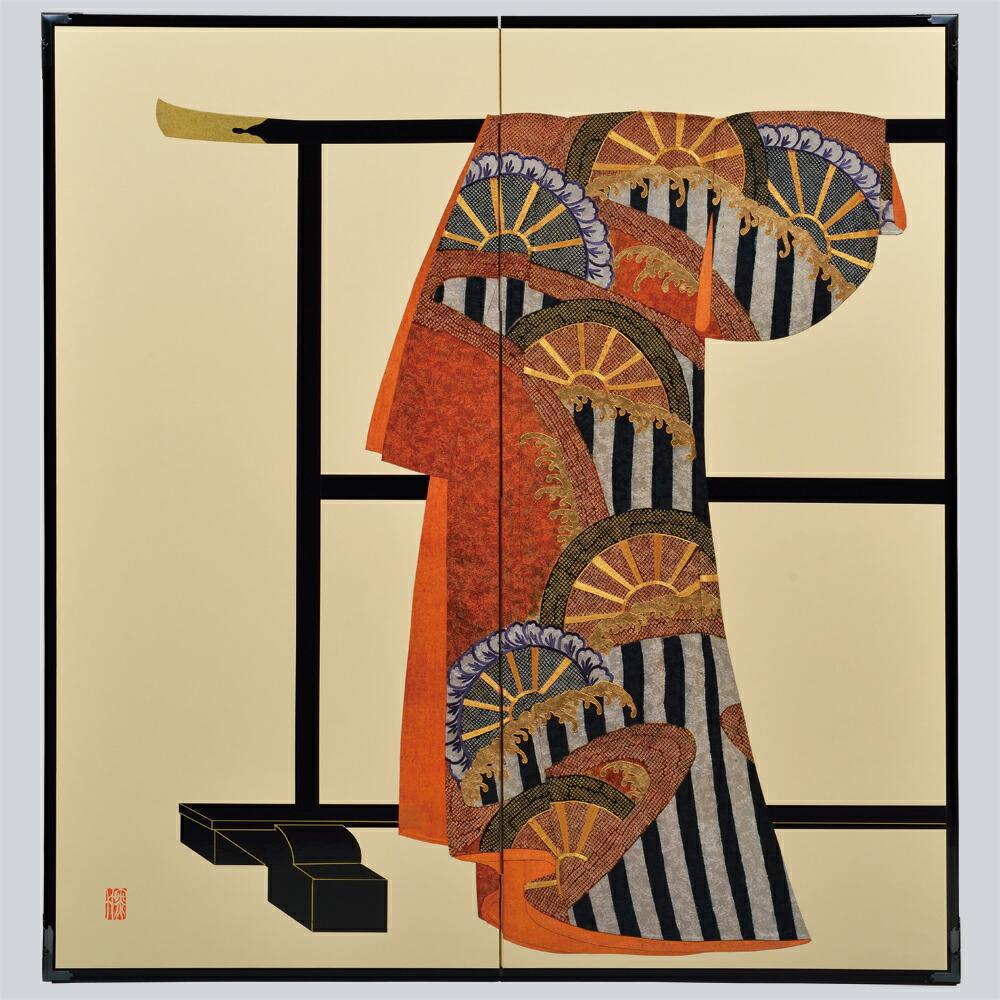 たが袖 波に片輪車模様・鳥の子・たが袖元禄小袖復元屏風・SADATO KUROTAKE(黒竹節人)プロデュース・京都くろちく