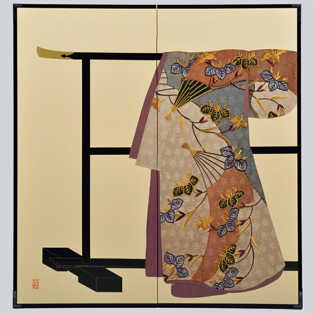 たが袖 杜若扇面模様・鳥の子・たが袖元禄小袖復元屏風・SADATO KUROTAKE(黒竹節人)プロデュース・京都くろちく