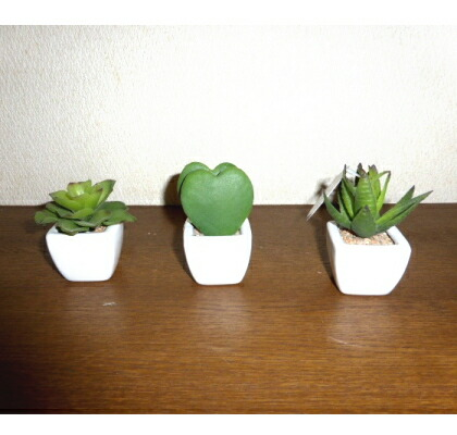 ●代引き不可 送料無料 多肉植物3点セット 造花