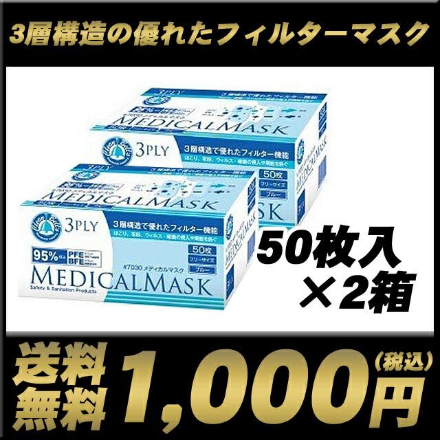 △[1000円 ポッキリ]送料無料 川西工業 メディカルマスク 3PLY ホワイト 50枚入×2箱 73733
