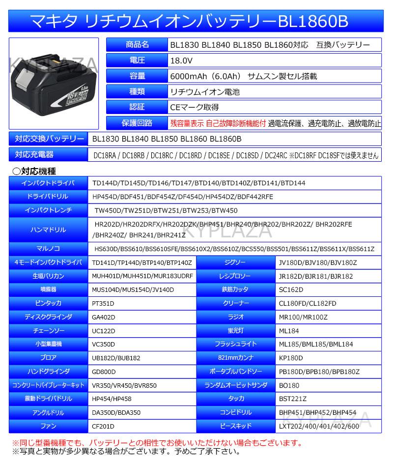 バッテリ BL1830対応 安心 1年保証 充電池 サムスン バッテリー 工具用蓄電池 の 製 マキタ 送料無料 【2個セット】 工具用バッテリー リチウムイオン電池 makita 互換18V サムソン 高品質